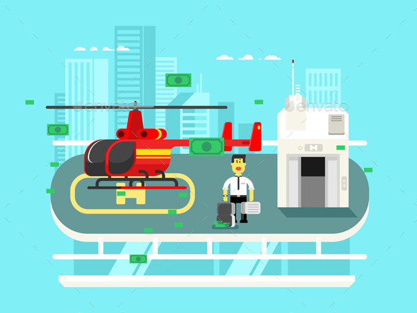 Helicopter On Roof With Man - Concepts Business