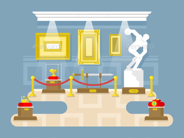 Museum Flat Design - Objects Vectors