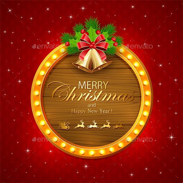 Round Christmas Banner with Bells - Christmas Seasons/Holidays