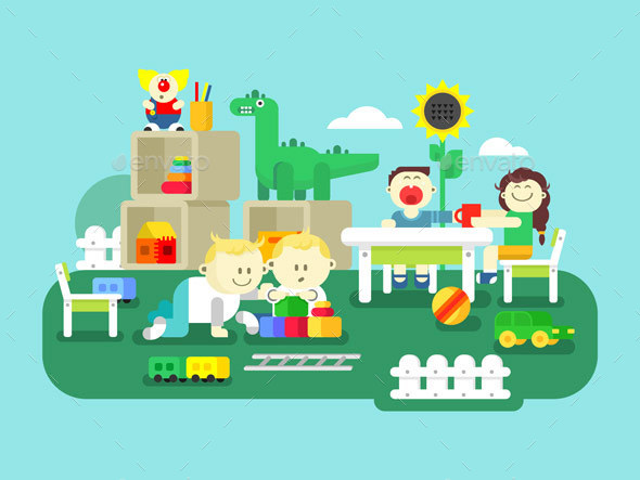 Kindergarten Flat Design - People Characters