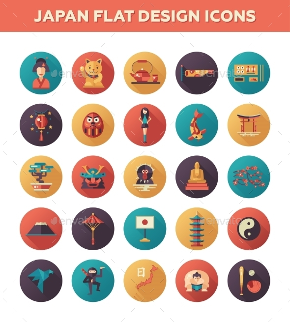 Japan Travel Icons - Travel Conceptual