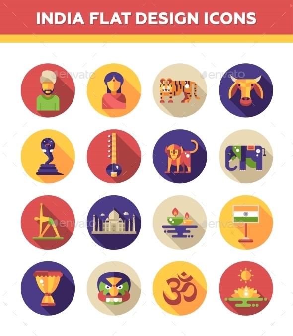 India Travel Icons - Travel Conceptual