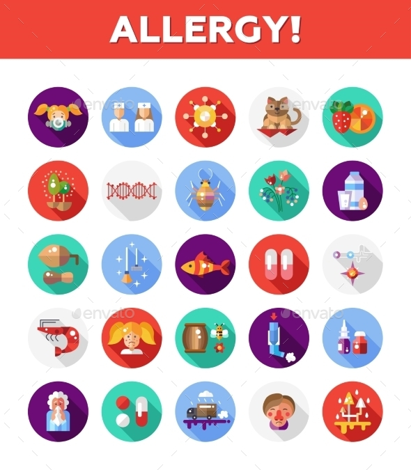 Allergy and Allergen Icons - Health/Medicine Conceptual