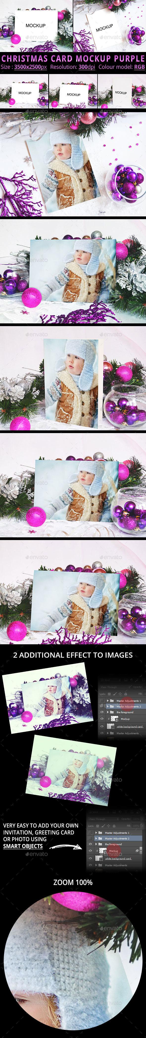 Christmas Card Mockup Purple