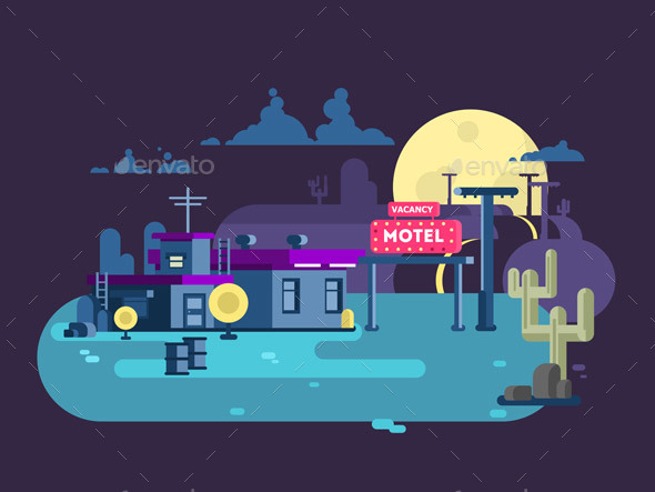 Motel Night Flat Design - Buildings Objects