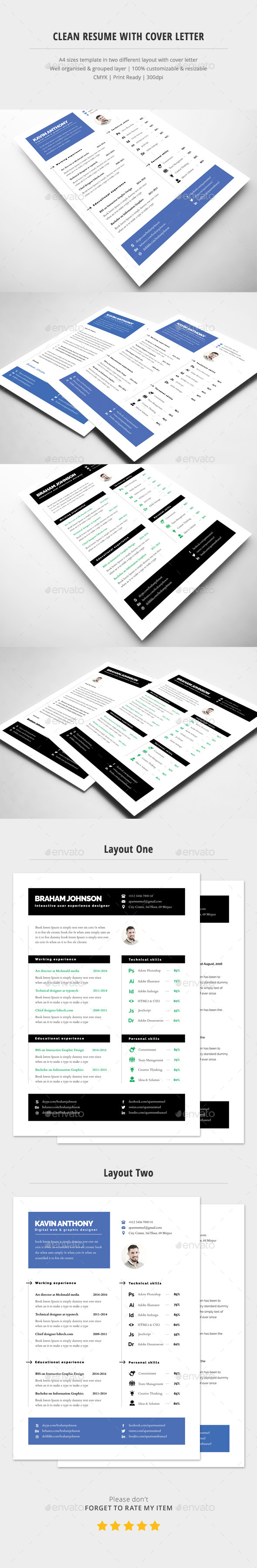 Clean Resume Template With Cover Letter - Resumes Stationery