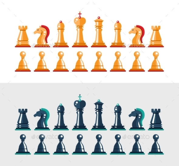 Flat Design Isolated Black and White Chess Figures - Concepts Business