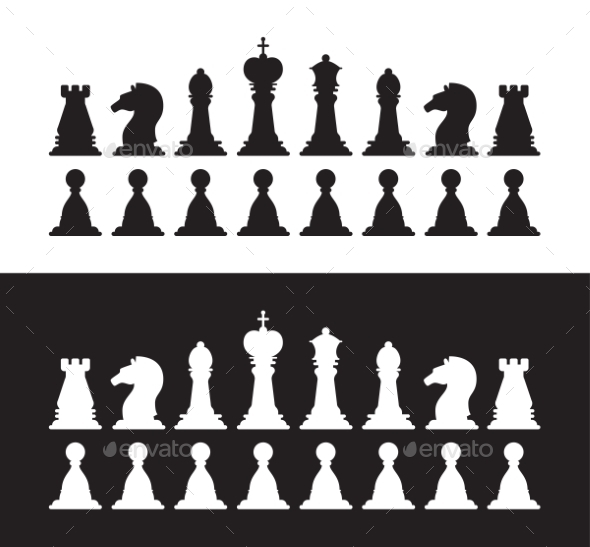 Isolated Black and White Chess Silhouettes - Concepts Business
