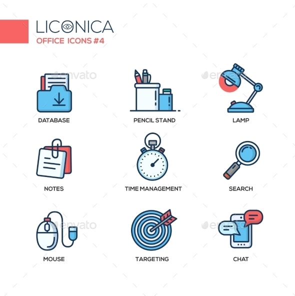 Set of Modern Office Thin Line Flat Design Icons - Man-made Objects Objects