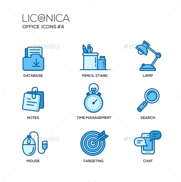 Set of Modern Office Thin Line Flat Design Icons - Computers Technology