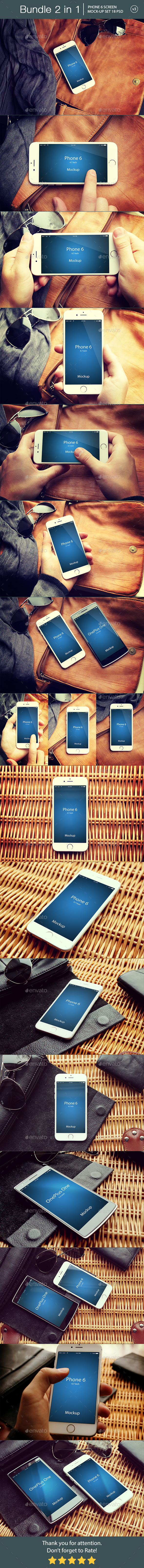 iPhone 6 Mockup Bundle 2 in 1 v3 - Mobile Displays