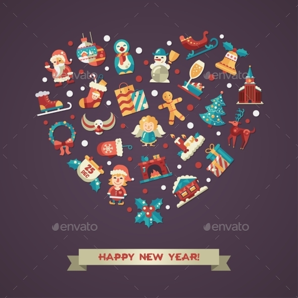 Christmas And Happy New Year Card - New Year Seasons/Holidays