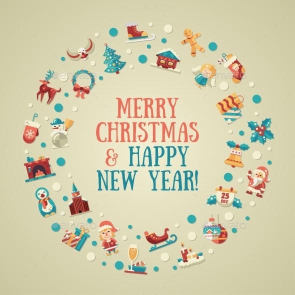 Christmas and Happy New Year Card - New Year Seasons/Holidays
