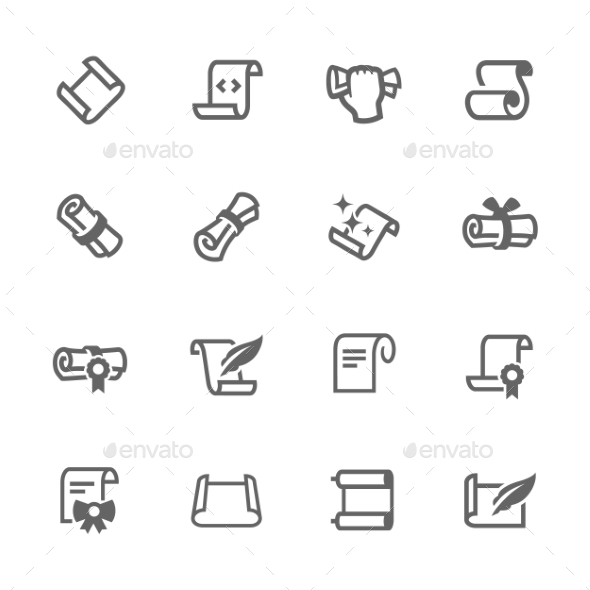 Simple Scrolls And Papers Icons - Icons