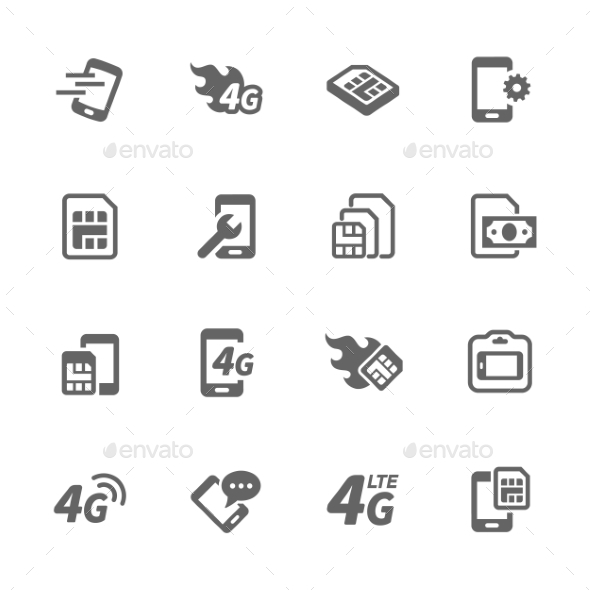Simple Sim Card Icons - Icons