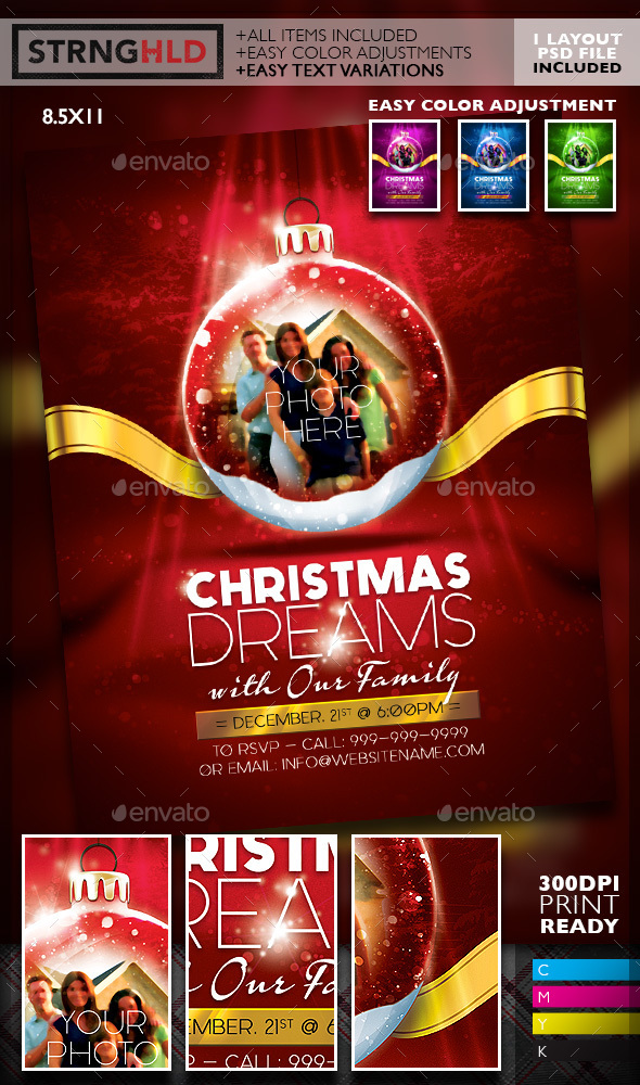Christmas Snow Globe Flyer Template - Holidays Events