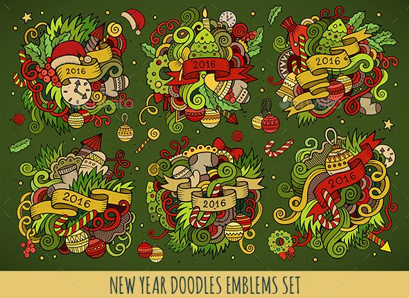 6 New Year Doodles Emblems Design - New Year Seasons/Holidays