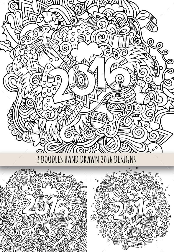 2016 Sketchy Doodles Designs - New Year Seasons/Holidays
