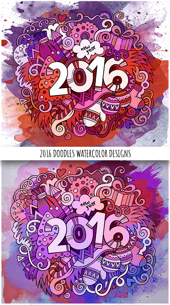 2016 Year Watercolor Doodles Designs - New Year Seasons/Holidays