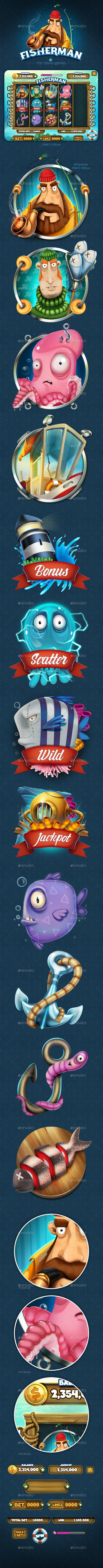 Fisherman Slot Game for Mobile Platforms - Game Kits Game Assets