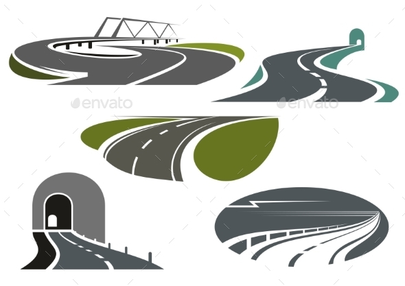 Highway, Roads, Tunnels and Bridge Icons - Buildings Objects