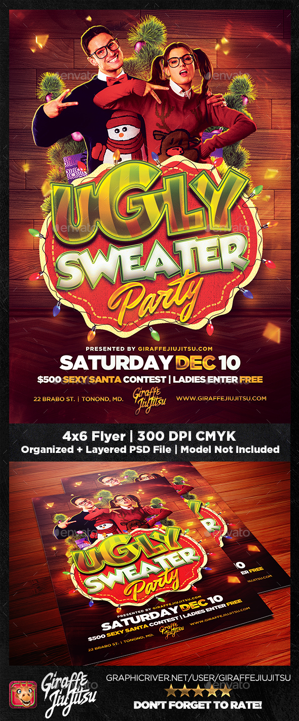 Ugly Sweater Party Flyer Template - Holidays Events