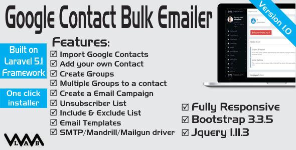 Google Contact Export & Bulk Emailer | Laravel 5 - CodeCanyon Item for Sale