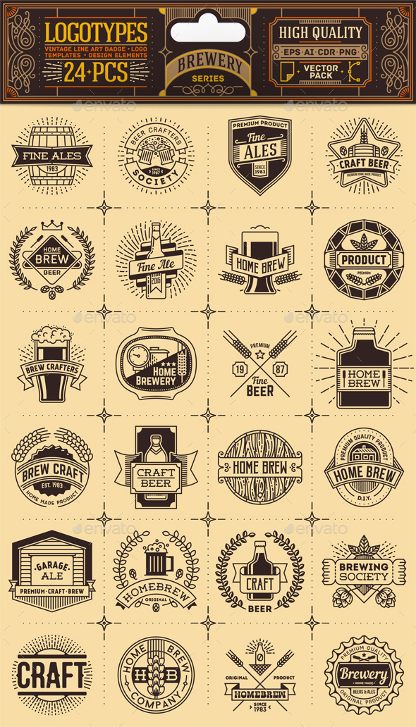 Brewery Thin Line Badges and Logos. Vector Pack. - Vectors