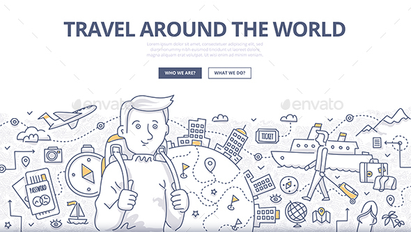 Traveling the World Doodle Concept - Travel Conceptual