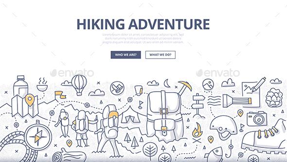 Hiking Adventure Doodle Concept - Travel Conceptual