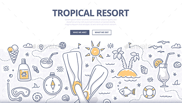 Tropical Resort Doodle Concept - Miscellaneous Seasons/Holidays