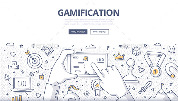Gamification Doodle Concept - Technology Conceptual
