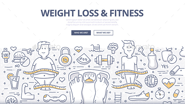 Weight Loss & Fitness Doodle Concept - Health/Medicine Conceptual