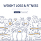 Weight Loss & Fitness Doodle Concept - GraphicRiver Item for Sale