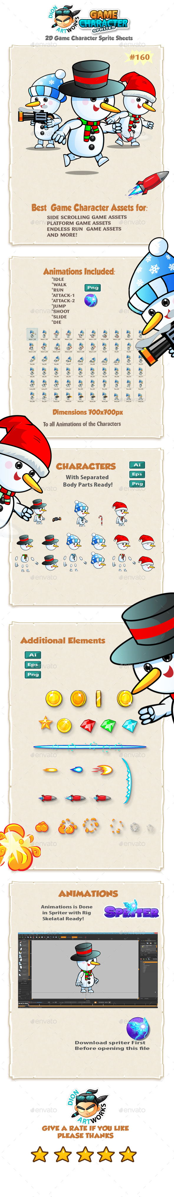 Snowman 2D Game Character Sprites 160 - Sprites Game Assets