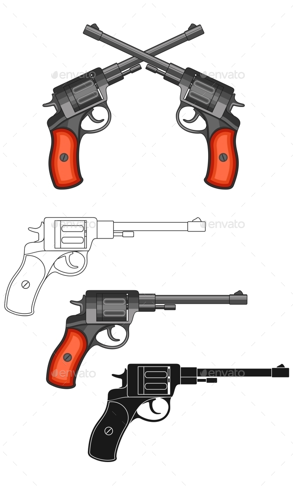 Revolvers on White Background. - Objects Vectors