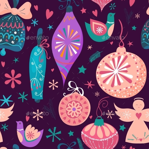 Christmas Baubles Seamless Pattern - Christmas Seasons/Holidays