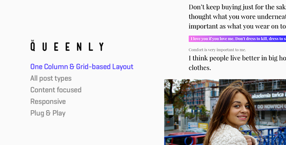 Queenly – Grid & One Column (2in1) Tumblr Theme