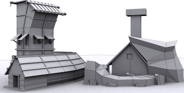 Low Poly House Bend - 3DOcean Item for Sale