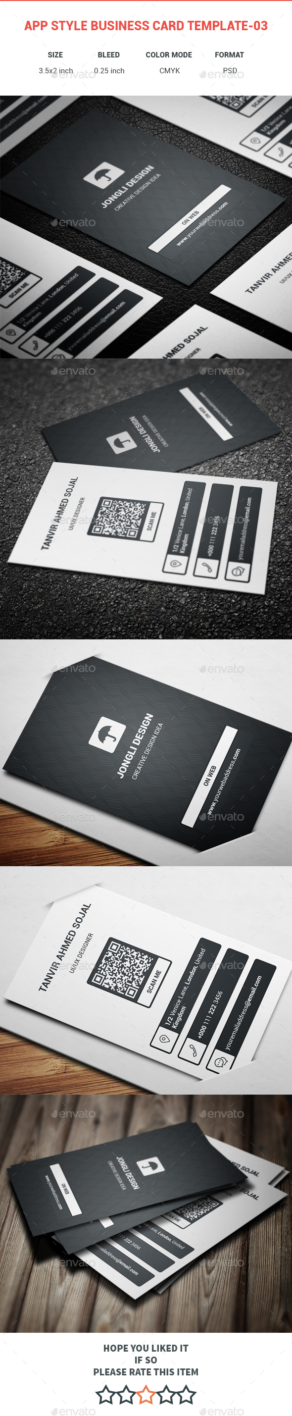 App Style Business Card Template-03 - Creative Business Cards