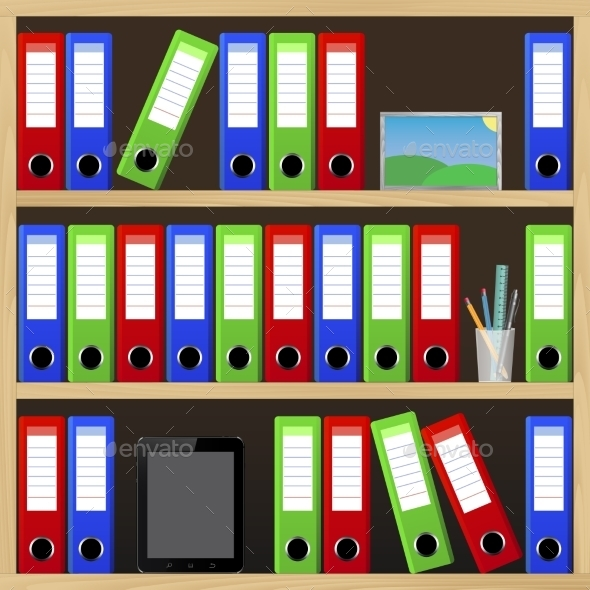 Office Shelves with Different Objects - Concepts Business