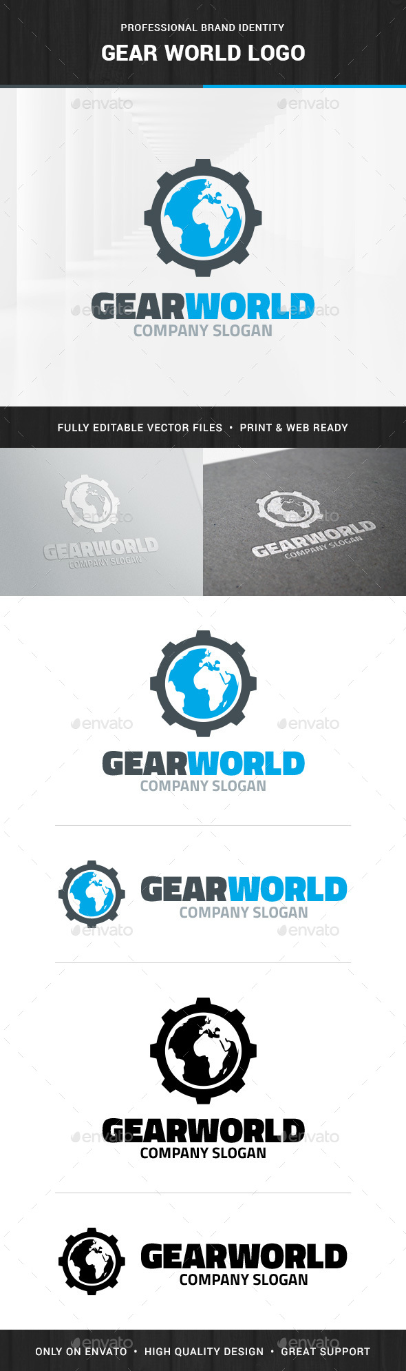 Gear World Logo Template - Logo Templates