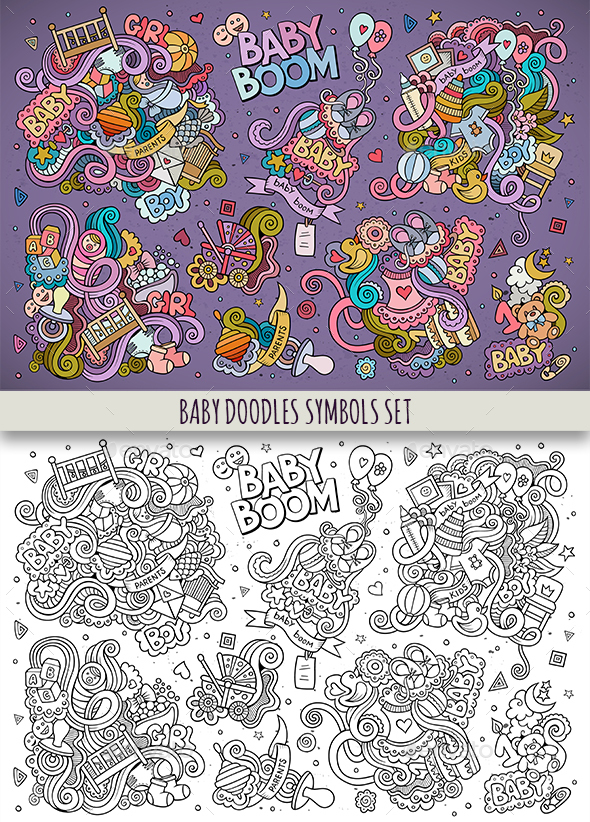 Baby Doodles Symbols & Objects Set - People Characters