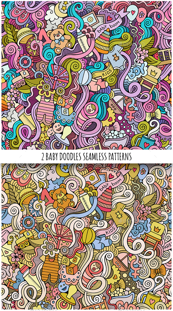2 Baby Doodles Seamless Patterns - Patterns Decorative