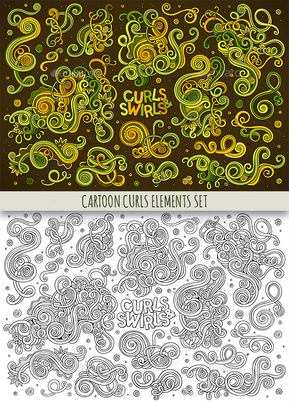 Curls and Swirls Doodles Elements Set - Flourishes / Swirls Decorative