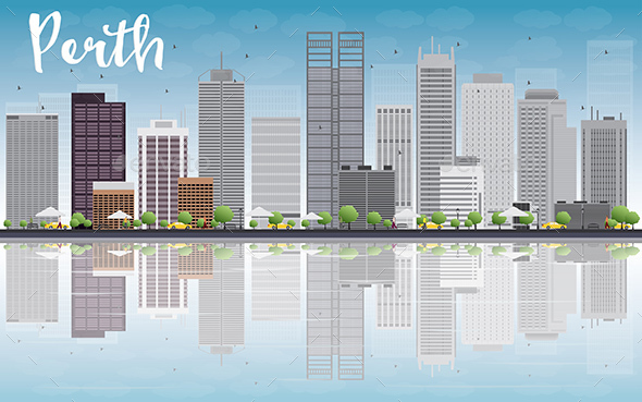 Perth Skyline with Gray Buildings - Buildings Objects