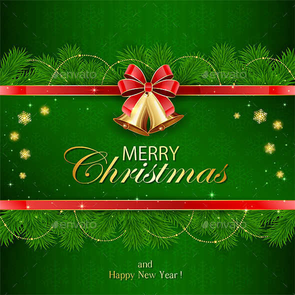Green Background with Fir Tree Branches - Christmas Seasons/Holidays