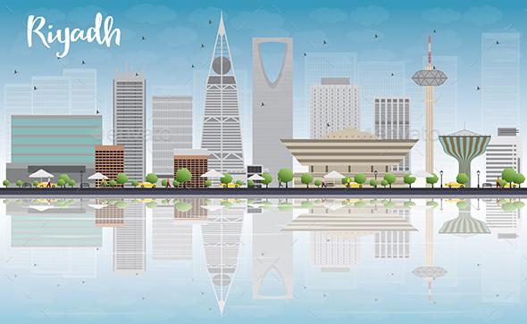 Riyadh Skyline with Gray Buildings - Buildings Objects