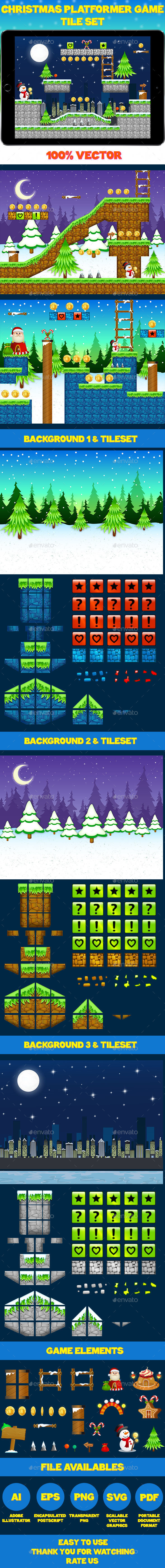 Christmas Platform Game Tile Set - Tilesets Game Assets