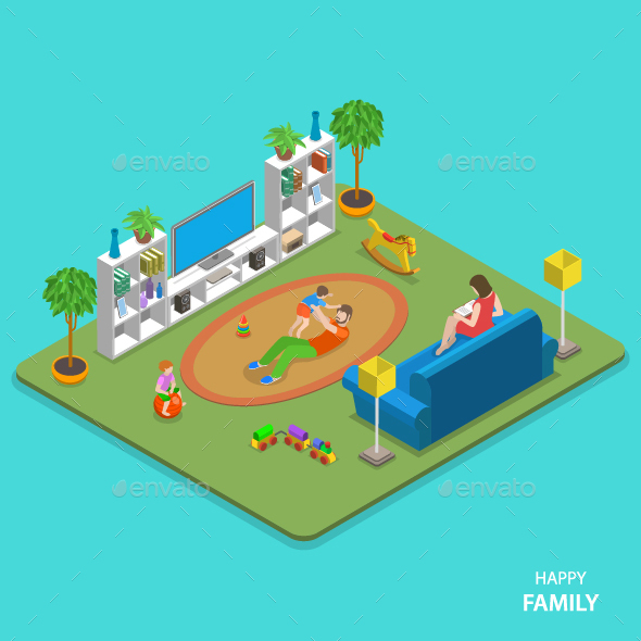 Happy Family Isometric Flat Vector Concept - People Characters
